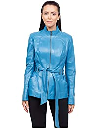 Pandora07'S Classic Women Sky Blue Color Leather Jacket.