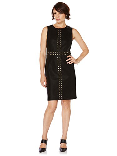 Ponte Scoop Neck Dress (Rafaella Women's Misses Scoop Neck Sleeveless Sheath Dress Black)