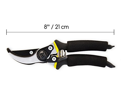 8'' Professional Garden Clippers, Branch Scissors & Rose Pruning Shears ,Hand Pruners with Ergonomic Handles, Shock-Absorbent Spring & Safety Lock ,Bypass Pruning Shears For Garden Maintenance (Black) by Lexza (Image #2)