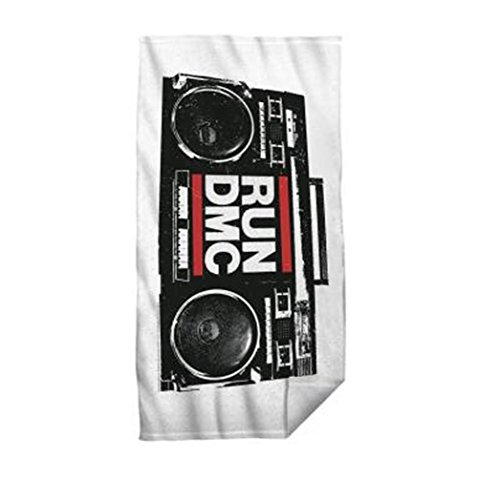 Run DMC Beach and Bath Towel Boom Box Logo, White