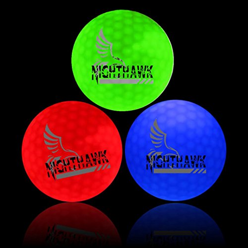 NightHawk 3 [Upgraded Version] Glow in Dark LED Light Up Golf Balls Official Size Weight Constant On (3 Pack) -