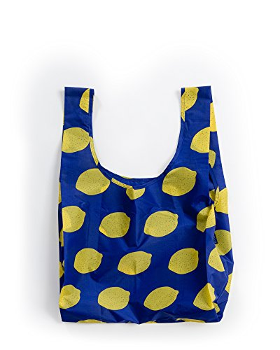 BAGGU Standard Reusable Shopping Bag, Eco-friendly Ripstop Nylon Foldable Grocery Tote, Lemon