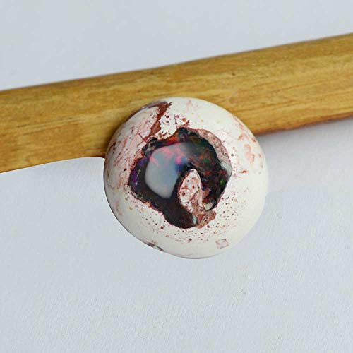 Jaipur Art Mart Natural Mexican Fire Opal Gemstone, Cantera Opal Cabochon, Oval Shape, Multi Flash, Jewelry ()