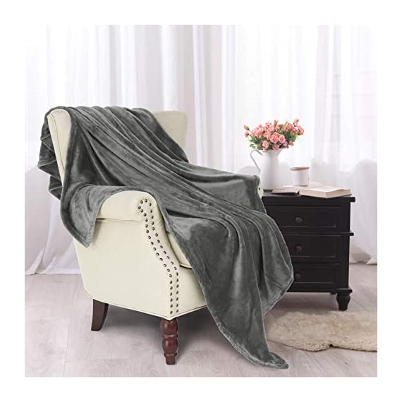 "Exclusivo Mezcla Large Flannel Fleece Velvet Plush Throw Blanket – 50"" x 70"" (Grey) - 280GSM FLANNEL FLEECE- The flannel fabric we choose is originally made from 100% microfiber polyester and brushed to create extra softness on both sides,the throw is designed to be simple but elegant EXTRA LARGE- This throw can be a very useful item to have on hand. Compare with standard size ones, this throw blanket measured by 50"" x 70"" suits better for adults. Enough weight to keep you comfortable, yet light enough to keep you from breaking out in sweat. VERSATILE- Made of premium flannel, this plush throw is super soft, durable, warm and lightweight. It's wrinkle and fade resistant, doesn't shed, and is suitable for all seasons. - blankets-throws, bedroom-sheets-comforters, bedroom - 41GcMr9sFrL. SS570  -"