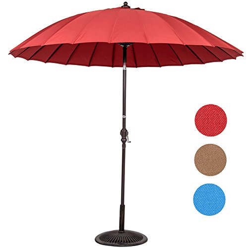 Sundale Outdoor Patio Garden 9ft Outdoor Market Umbrella with 24 Fiberglass Ribs and UV Resistant Fabric Polyester (Red)