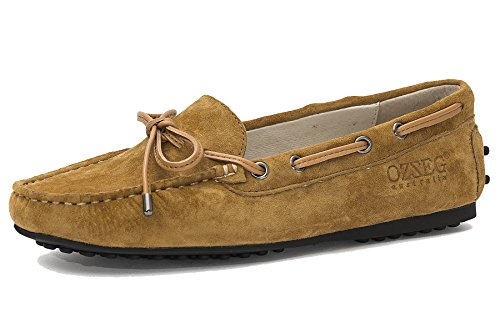Ozzeg Damessleer Comfortabele Slip-on Penny Loafer Platte Schoenen Varken Lederen Kastanje