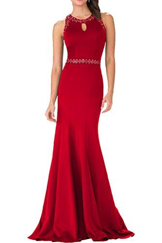 Partykleider Abendkleider Ballkleider Braut La Satin 2018 Damen mia Elegant Festlichkleider Rot Meerjungfrau Dunkel xF4pYqO