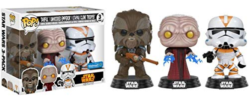 (Funko Pop! Star Wars Tarfful, Unhooded Emperor, Utapau Clone Trooper Revenge of the Sith Exclusive Vinyl Figures )