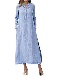 Women Bohemian Cotton Linen Loose Casual Split Kaftan Dress with Button  S-5XL b537adf9e