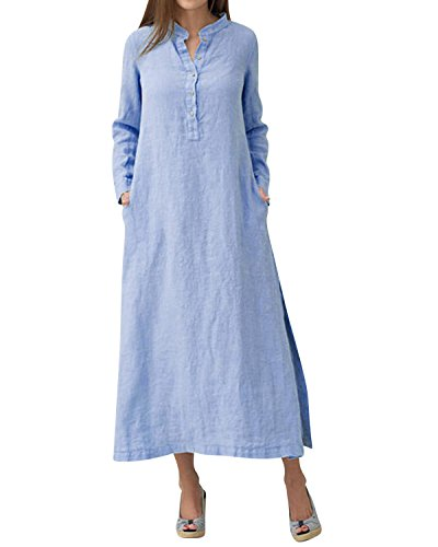 (Jacansi Women Retro Long Sleeve Boho Solid Stand Collar Plus Size Loose Maxi Dress Blue 2XL )