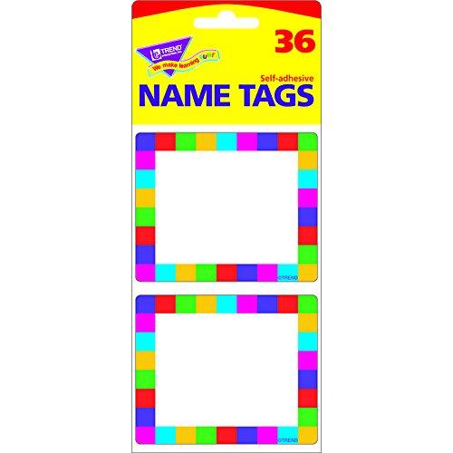 TREND ENTERPRISES INC. NAME TAGS RAINBOW PLAID 36/PK (Set of 24)
