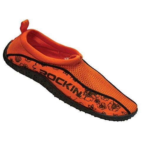 Rockin Footwear Women's Water Shoes Aqua Socks, Orange, 7 B(M) US