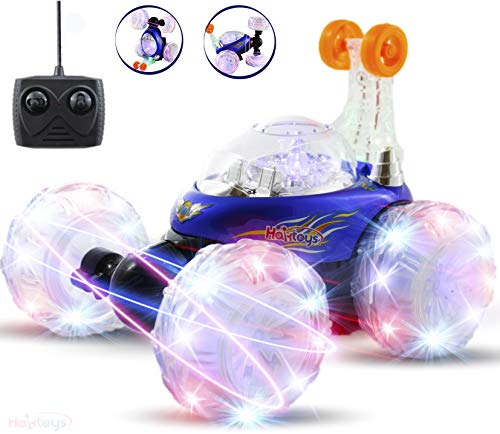 Haktoys Blue Invincible Tornado Twister RC Stunt Car   Extreme 360° Tumbling & Spinning Action   Radio Remote Controlled Rechargeable Vehicle with Flashing LED Lights & Music Switch, Gift for Kids