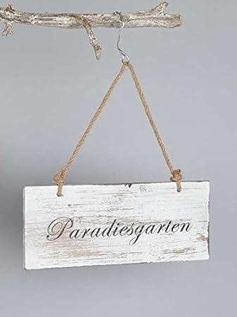 """Holzschild Dekoschild Wandschild aus Holz weiß mit Aufschrift /""""Paradiesgarten/"""""""