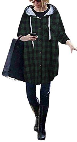 Suelto Casual Con Woman Juvenil Cuadros Sudaderas Parejas Camisas Grandes Tallas Elegantes Chaquetas Bolsillos Mujeres Otoño A Cárdigans Larga Manga Verde Encapuchado Capucha Oversize Basicas aCqHnCw5