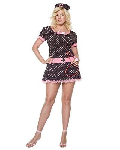 [Black Pink Plus Size Nurse Costume Dress Nurses Uniform Womens Theatre Costumes Sizes: 1X-2X] (Plus Size Nurse Outfit)