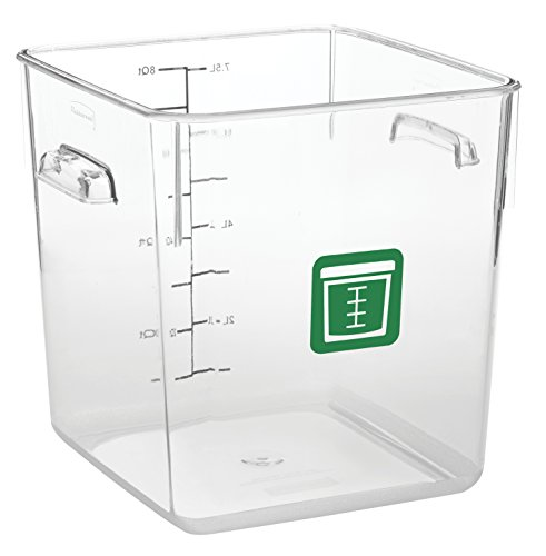 Food Service Plastic Container (Rubbermaid Commercial Products 1980331 Square Plastic Food Storage Container, Green Label, 8 quart, Clear)
