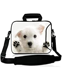 """9.7"""" 10"""" 10.1"""" 10.2"""" inch Messenger Bag Carring Case Sleeve with Handle Accessory Pocket Fits 7 to 10-Inch Laptops/Notebook/ebooks/Kids tablet/ipad (7-10.2 inch, White Dog)"""