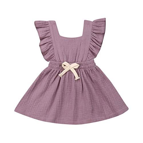 Toddler Baby Girl Ruffle Fly Sleeve Pinafore A-line Princess Dress Summer Suspender Skirt Cotton Backless Dress (Light Purple, 2-3 Years)