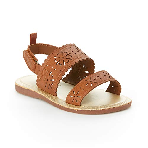 OshKosh B'Gosh Aditi Girl's Floral Cut-Out Sandal, Brown, 3 M US Infant