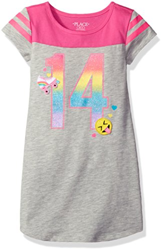 The Children's Place Big Girls' Short Sleeve Casual Dresses, Heathered Falcon 8017, L - Emoji Falcon