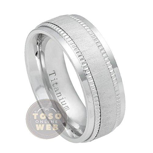 Milgrain Titanium Wedding Band - Men's 8mm Stepped Edge Polish Titanium Wedding Band w/ Milgrain Side and Brushed Finish Center, Comfort Fit Anniversary Ring Ti5482- FREE ENGRAVING - s12