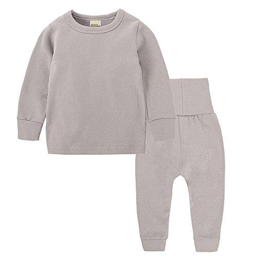 Chickwing Toddler Baby Girl Boy Pajama Set High Waist Solid Color Sleepwears Pjs Khaki