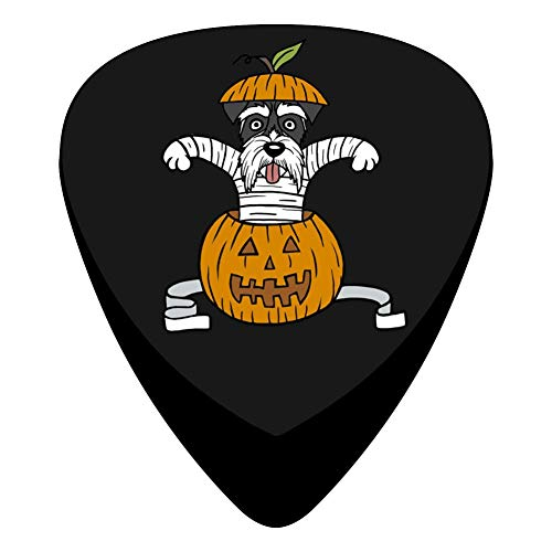 Pimalico Classic Funny Schnauzer Mummy In Pumpkin Halloween Design Picks (12 Pack, ) for Electric Guitar, Acoustic Guitar, Mandolin, and Bass / Black ()