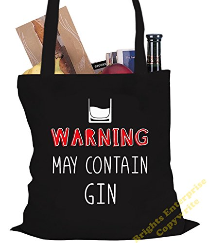 Tote Shopping Gym Beach Bag (#33) with the wording Warning. May contain Gin - Size 38 x 42 cm 10 litres - from our unique tote reuseable bag range. An original Birthday or Christmas stocking filler gi Black