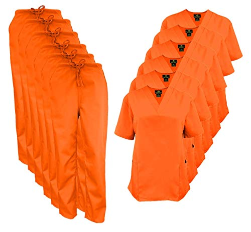 Natural Uniforms Women's Scrub Set Medical Scrub Tops and Pants – Pack of 6 Set