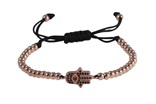 (Hand of Hamsa Micro Pave CZ Macrame Braided Bracelet with 4mm Round Copper Beads by MayaBracelets (Rose)