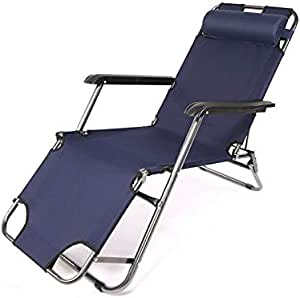 Outdoor Lounge Chair Recliners Adjustable Foldable Garden Lounger for Beach Garden Family Pool (bark Blue)