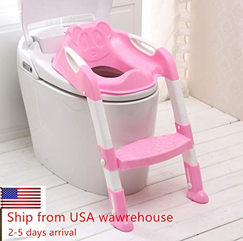 CARESHINE Potty Seat with Ladder Cover Toilet Folding Chair Kid Potty Toilet Seat with Step Stool Ladder (Pink)