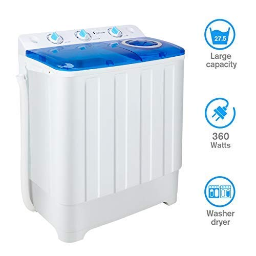 Portable Washing Machine with Spin and Wash Cycle, Compact twin tub Washer Machines Large Capacity Top Load Laundry for Apartment/Dorm Rooms/RV's, 16.5Lbs Washer & 11lb Spin Capacity -