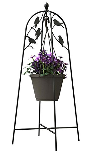 Panacea Perching Birds Hanging Basket Stand, Black, 42.5