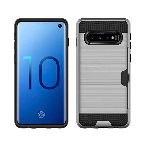 For Samsung S10 plus, Carbon fiber Wear-resistant Ultra-thin and ultra-light,Slim Plug-in Card Non-slip Back Hybrid Case Cover (Silver)