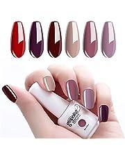 Vernis Gel Semi Permanent, Lot de 6 Vishine UV LED Vernis à Ongles Gel Soak Off 8ml Couleurs Rouge Pourpre Violet Cadeau Coffret