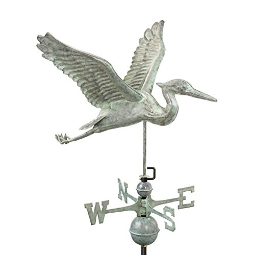 Good Directions Blue Heron Weathervane, Blue Verde Copper, Patina