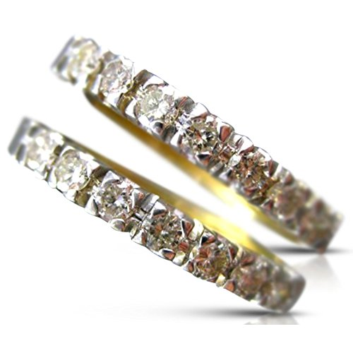 LARGE .60CT DIAMOND 14KT 2 TONE GOLD CLASSIC HOOP HUGGIE EARRINGS #14065 14kt 2 Tone Diamond Earrings