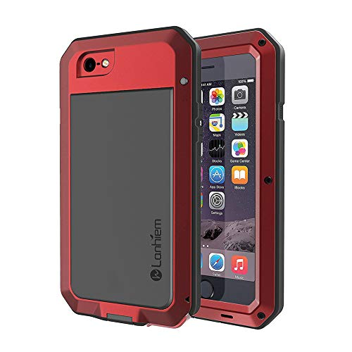 Lanhiem iPhone 6 / 6s Case, Heavy Duty Shockproof [Tough Armour] Metal Case with Built-in Screen Protector, 360 Full Body Protective Cover for iPhone 6 6s, Dust Proof Design -Red