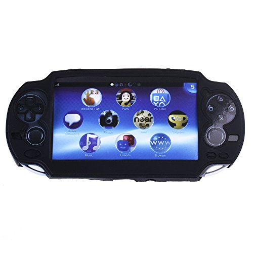 COSMOS Black Color Silicone Bumper Protection Case Cover for Playstation PS VITA 1000, Fits for Oval Start & Select Button Only, with LCD Touch Screen Cleaning Cloth ()