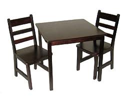 Lipper International 514E Child\'s Square Table And Two Chairs - Espresso