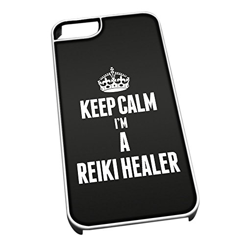 Bianco cover per iPhone 5/5S 2663 nero Keep Calm I m A Reiki Guaritore