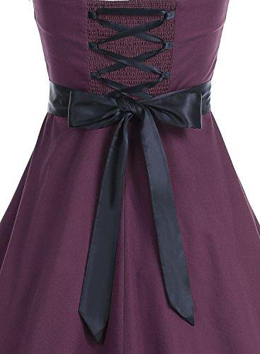 DRESSTELLS Vintage 1950s Rockabilly Polka Dots Audrey Dress Retro Cocktail Dress Burgundy Black M by DRESSTELLS (Image #3)