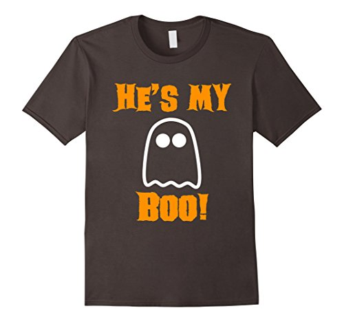 Mens He's My Boo Ghost Funny Halloween Couple T-Shirt 2XL Asphalt