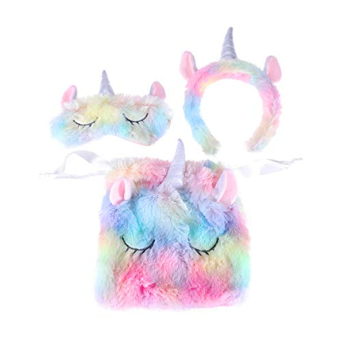 Lurrose 3Pcs Adorable Colorful Unicorn Set Plush Horn Unicorn Headband & Unicorn Eye Mask & Unicorn Storage Bag Unicorn Gifts for Girls]()
