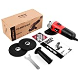 "Hi-Spec 5.2A Heavy Duty Angle Grinder Kit – 5"" Cutting Discs (125mm), Safety Guard, Adjustable Handle & 2 Piece Grinding Cutting Discs - for Metal, Masonry, Brick & Stone Cutting & Smoothing Projects"