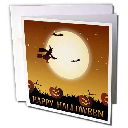 3dRose Sven Herkenrath Celebration - Happy Halloween with Witch and Bat Pumpkin - 12 Greeting Cards with envelopes (gc_294686_2)]()