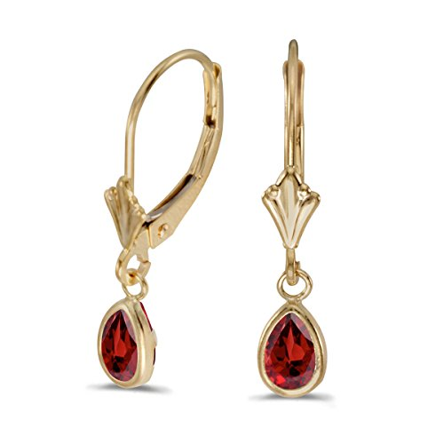 14k Yellow Gold Pear Garnet Bezel Lever-back (Garnet Pear Earrings)