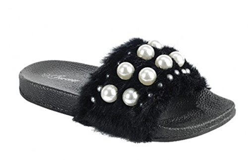 DEV Womens Warn Faux Fur Lined Casual Slip On Flat Flip Flop Moccasion Slider Slippers Mule Sandale Shoes Black-b LljxZ4